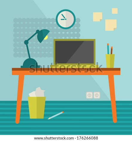 Workplace with modern computer on retro table. Vector illustration. - stock vector