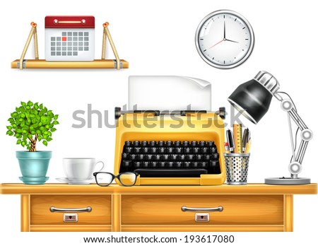 Workplace with Typewriter - stock vector