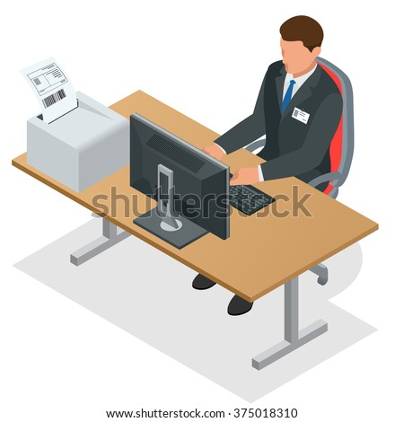 Workplace. Working on computer. Businessman looking at the laptop screen. Businessman at work. Man working at the computer.Order from China. Flat 3d vector isometric illustration - stock vector