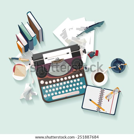 Workplace writer. Flat design. - stock vector