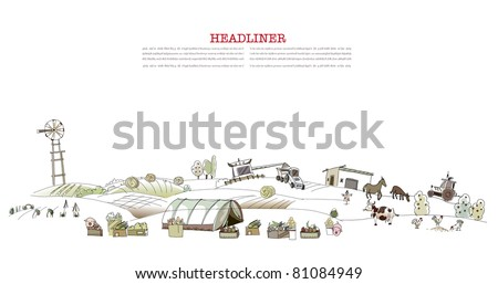 works on agricultural fields - stock vector