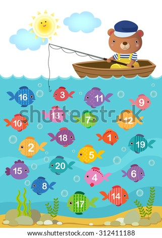 Worksheet for kindergarten kids to learn counting number with cute bear - stock vector