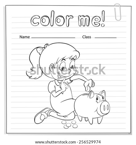 Worksheet showing a thrifty little girl on a white background - stock vector