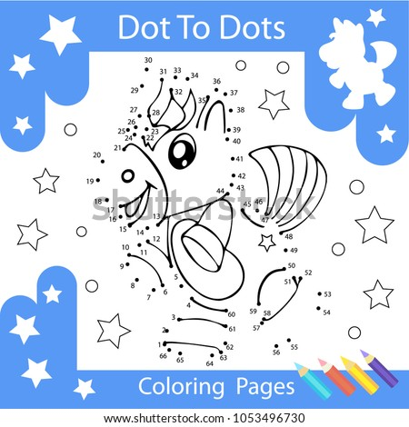 Worksheets Dot To Dots With Drawn The Unicorn. Children Funny Drawn Riddle.  Coloring Page