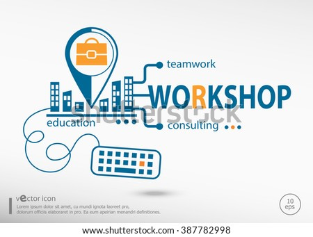 Workshop and marketing concept. Workshop concept for application development, creative process. - stock vector