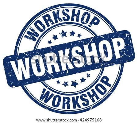 workshop blue grunge round vintage rubber stamp.workshop stamp.workshop round stamp.workshop grunge stamp.workshop.workshop vintage stamp. - stock vector