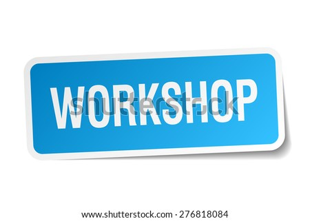 workshop blue square sticker isolated on white