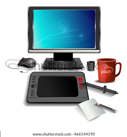 Workspace for graphic .Monitor,Tablet, digital pen,paper, pencil, cup of coffee. Realistic Vector Illustration
