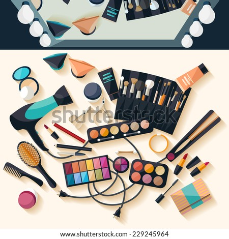Workspace for makeup. Flat design. - stock vector