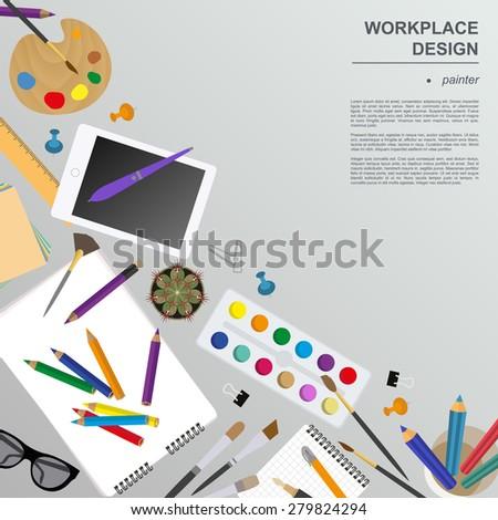 Workspace of the painter, artist. Mock up for creating your own modern creative office desktop workshop style. Flat design vector mock up. Vector illustration - stock vector
