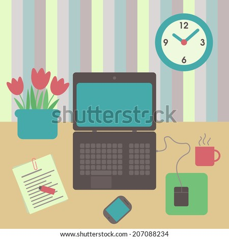 workspace office -  flat design illustration - working hours - desk with laptop with mouse, phone, clock, usb, cup and flowers - stock vector