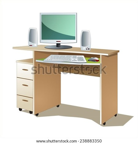 workspace  table and computer vector - stock vector