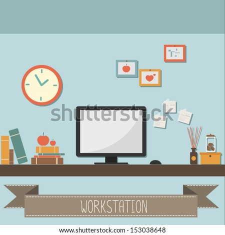 workstation - stock vector