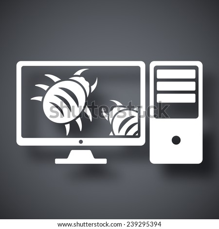 Workstation is infected by malware, vector illustration - stock vector