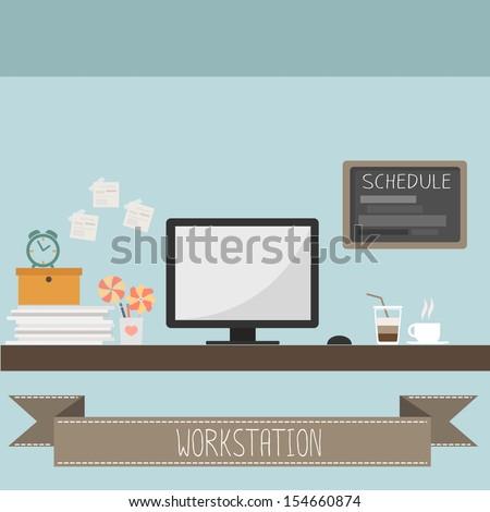 workstation vector - stock vector