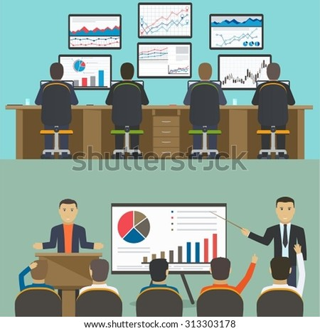 Workstation with a group of workers, web analytics information and development website statistic, Business concept workshop, training. - stock vector