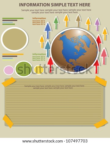 World abstract drawing and blank paper for text,Vector