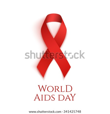 World AIDS day background. Red ribbon isolated on white. Vector illustration. - stock vector