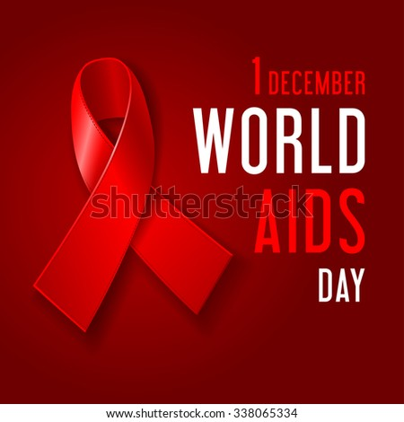 World AIDS Day concept poster with red ribbon of AIDS awareness (symbol for solidarity with HIV-positive people) and text on dark red background. Vector illustration. - stock vector