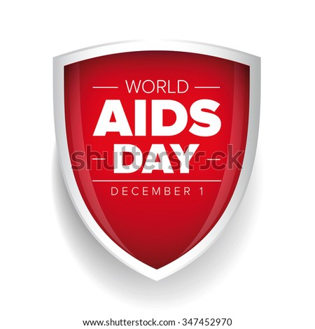 World AIDS Day - December 1 red shield - stock vector