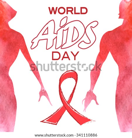 World Aids Day Man Woman Vector Stock Vector Hd Royalty Free