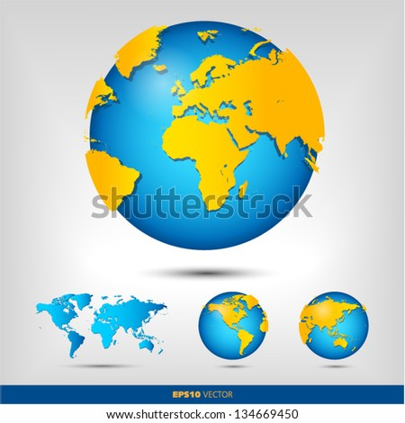 World and globe set