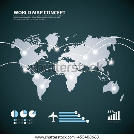 World and Map concept represented by earth and lights icon. Blue illustration.  - stock vector