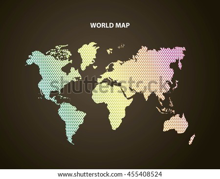 World and Map concept represented by earth icon. Colorfull and pointed illustration.  - stock vector