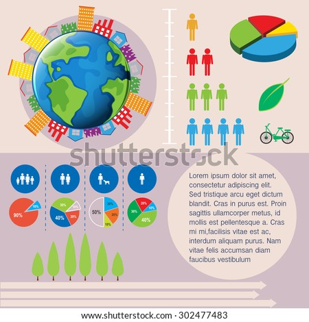 World and people infographic illustration