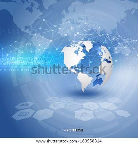 World and technology futuristic background, vector illustration - stock vector