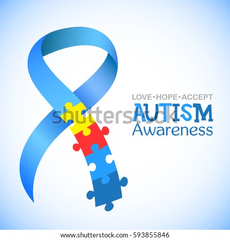 World Autism Awareness Day Blue Ribbon Stock Vector Hd Royalty Free