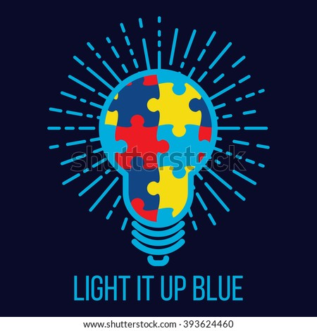 World Autism Awareness Day. Card or poster template with puzzle glowing light bulb. Autism sign made from puzzle pieces. Vector flat illustration on blue background. Light it up blue. - stock vector