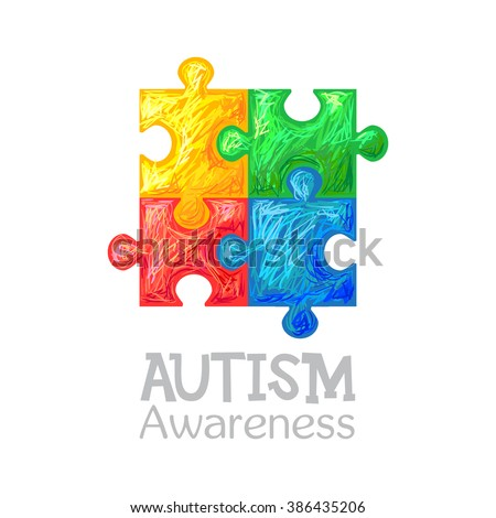 World Autism Awareness Day Colorful Puzzle Stock Photo Photo