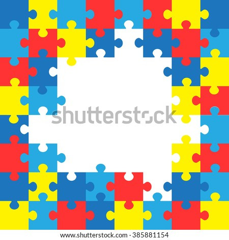World autism awareness day. Colorful puzzles vector background. Symbol of autism. Medical flat illustration. Health care.  - stock vector