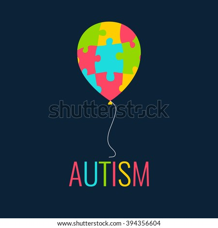 World Autism Day. Autism awareness poster with a colorful balloon made of puzzle pieces. Autism solidarity day. Vector illustration. - stock vector