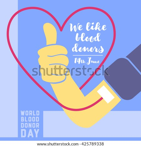 World blood donor day flat background vector illustration.  - stock vector