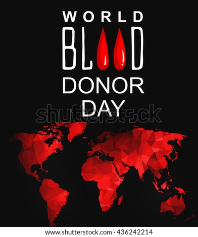 World blood donor day-June 14th. Vector poster. World blood donor day card. Illustration vector - stock vector