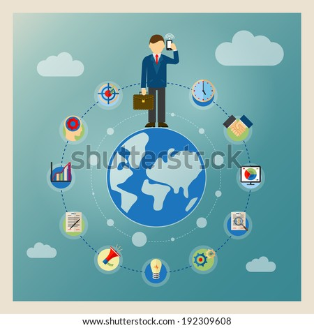 World business concept. Businessman standing on globe and talking on phone - stock vector