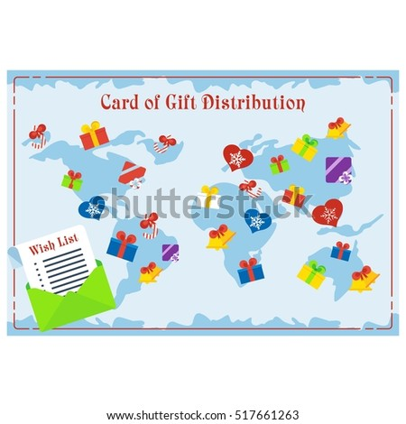 World card of delivery gift. Image of gift distribution. Fast delivery, delivery service flat illustration concepts set. Objects isolated on a white background.