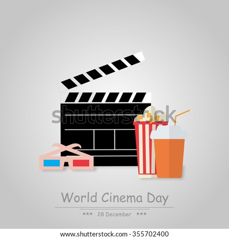 World Cinema Day December 28 illustration  on a gray background