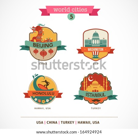 World Cities labels - Beijing, Istanbul, Honolulu, Washington, - stock vector