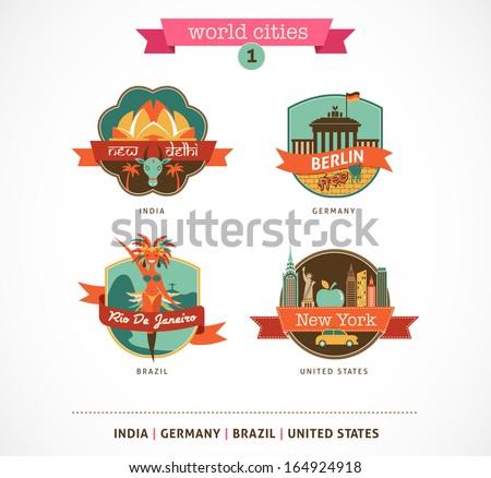 World Cities labels - Delhi, Berlin, Rio, New York - stock vector