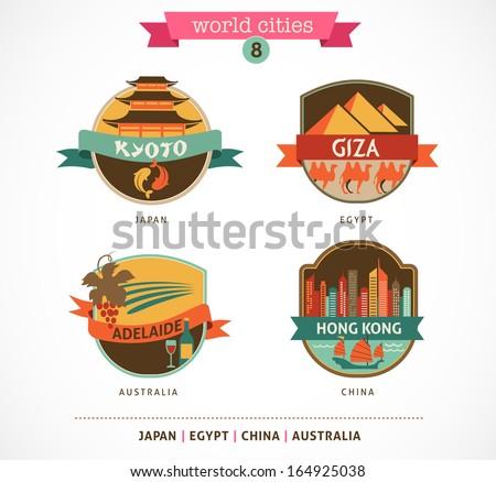 World Cities labels - Kyoto, Giza, Adelaide, Hong Kong, - stock vector
