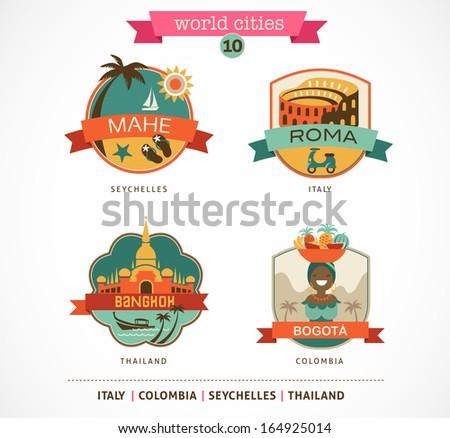 World Cities labels - Mahe, Roma, Bangkok, Bogota - stock vector