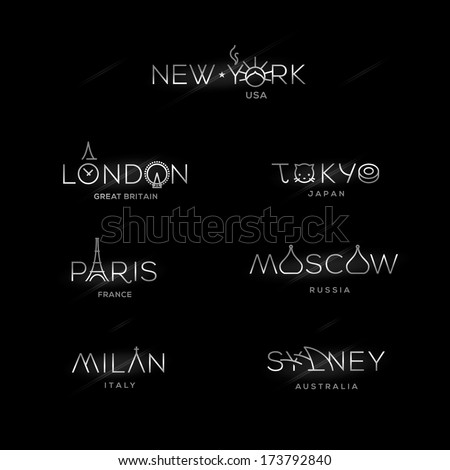 World Cities labels - New York, Milan, Paris, London, Tokyo, Moscow, Sydney. Vector illustration.  - stock vector