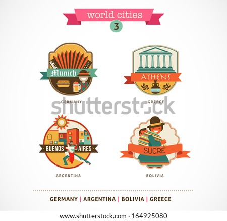 World Cities labels - Sucre, Buenos Aires, Munich, Athens - stock vector