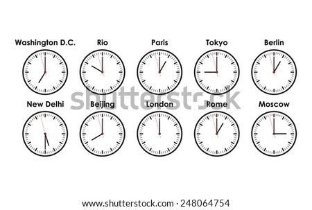 world clocks - stock vector