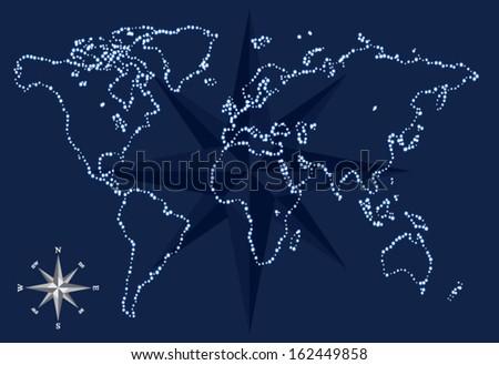 world compass - stock vector