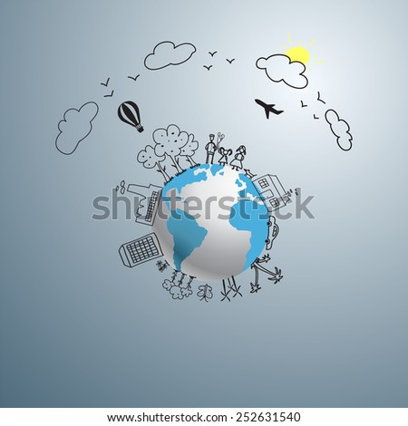 World concept. Ecology doodles icons vector set. - stock vector