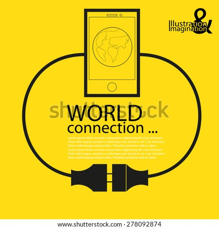 WORLD CONNECTION. mobile abstract plug connection. yellow background with a black symbols - stock vector